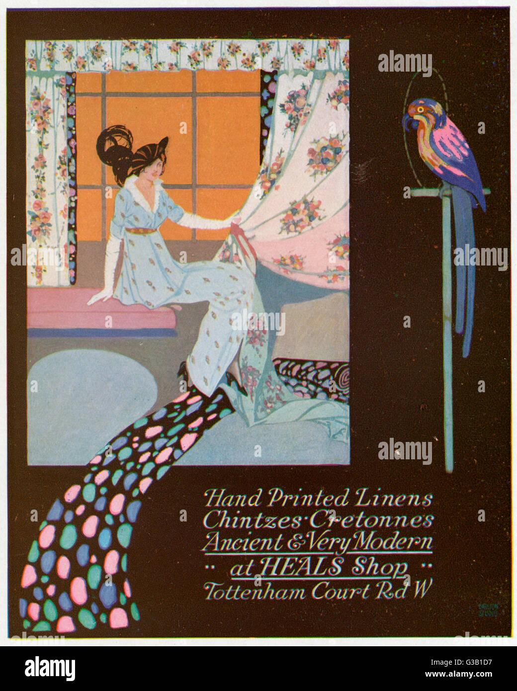 Guarire la mano-biancheria stampata, chintzes e cretonnes data: 1914 Immagini Stock