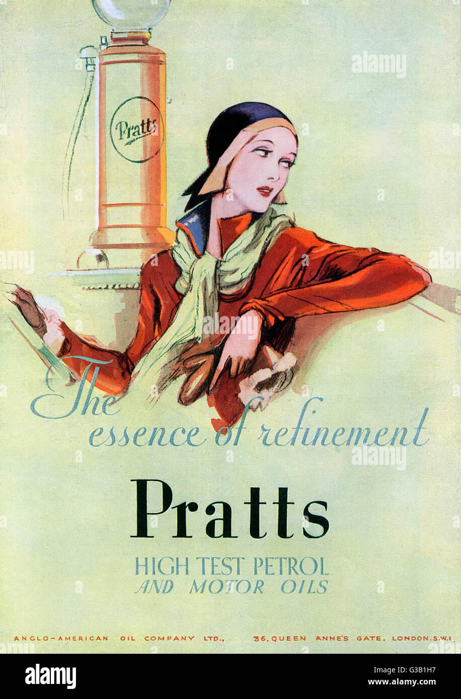Pratt's benzina - l'essenza della raffinatezza data: 1930 Immagini Stock