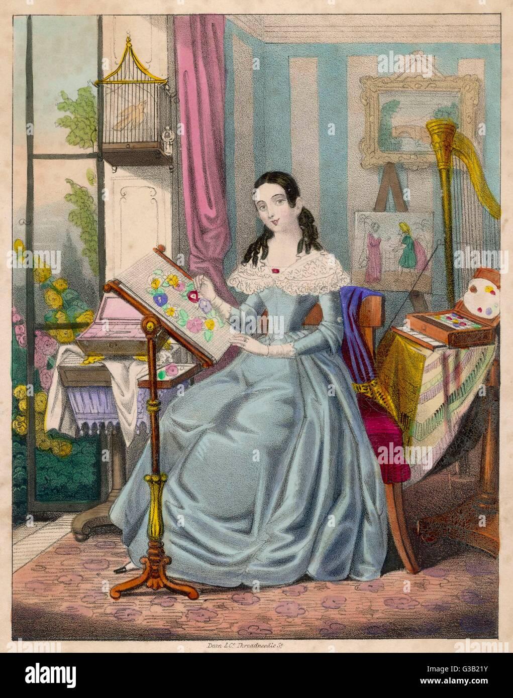 'L'operosa giovane lady' - una ragazza vittoriana e i suoi successi Data: 1840s Immagini Stock