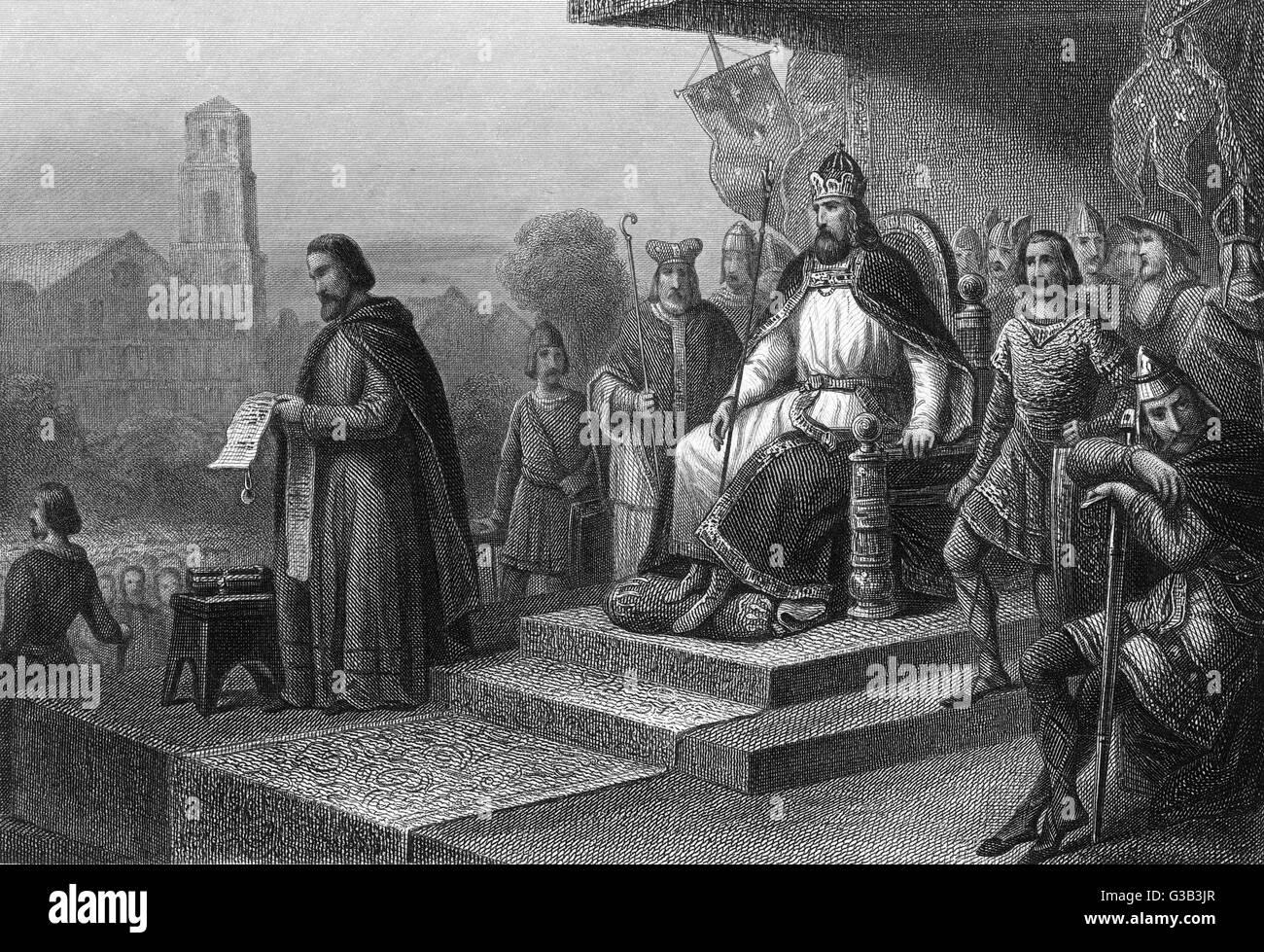 Problemi di Carlo Magno il suo 'capitulaires', ordinanze per la somministrazione del suo impero Data: circa Immagini Stock