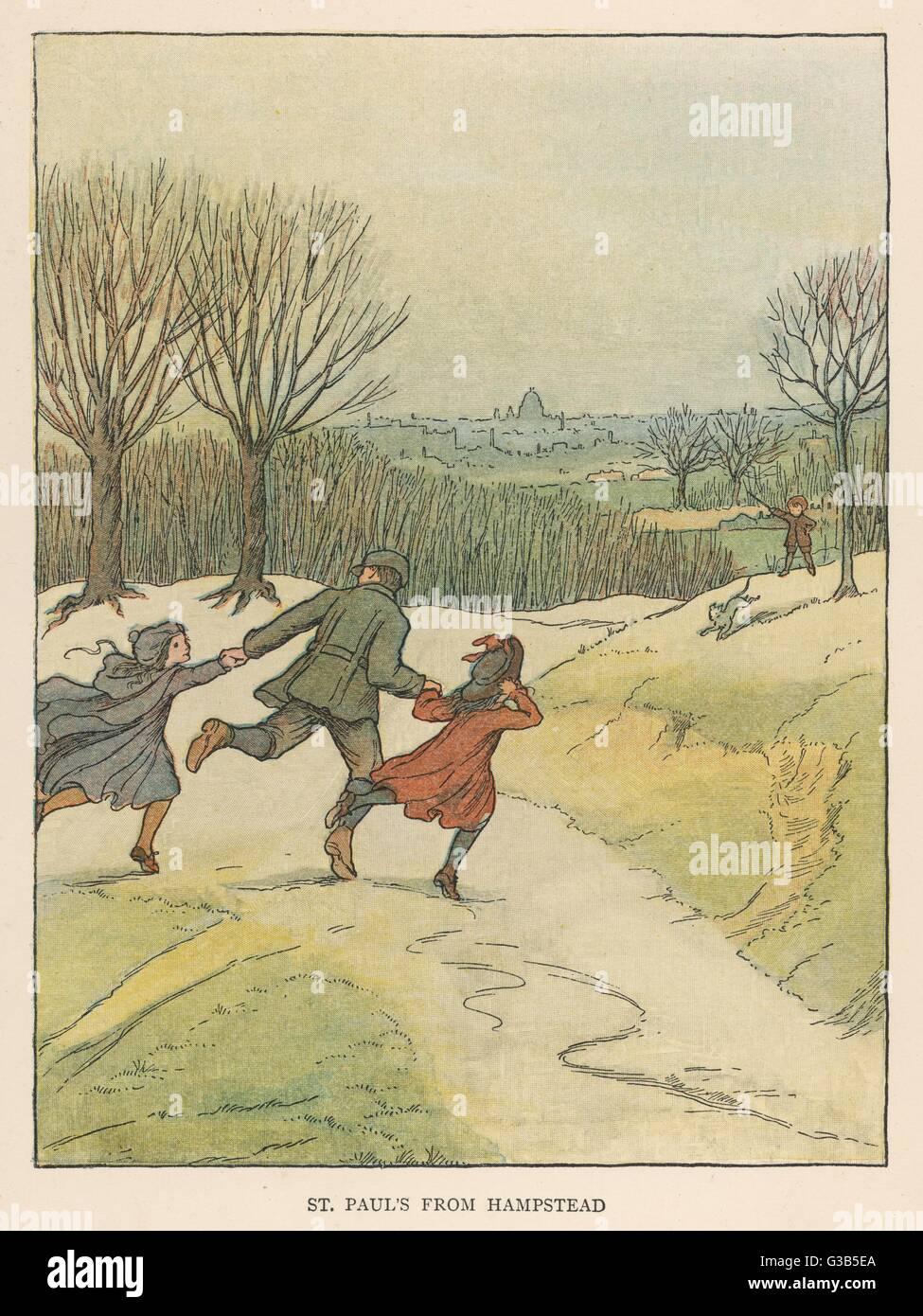 Hampstead Heath con San Paolo all'orizzonte: bambini che giocano. Data: 1902 Immagini Stock