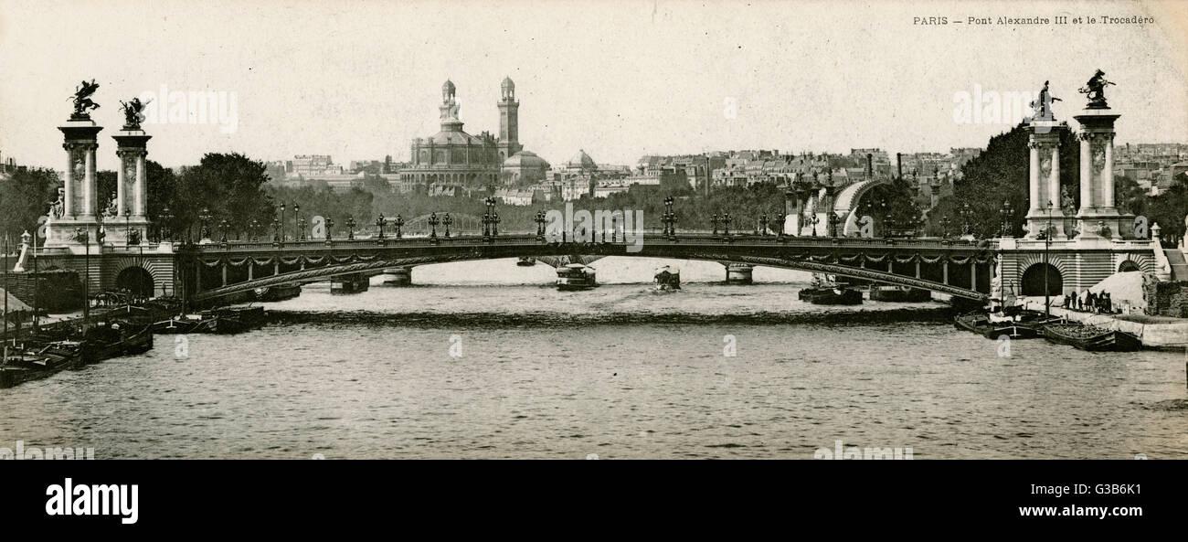 Il Trocadero all'orizzonte data: 1905 Immagini Stock