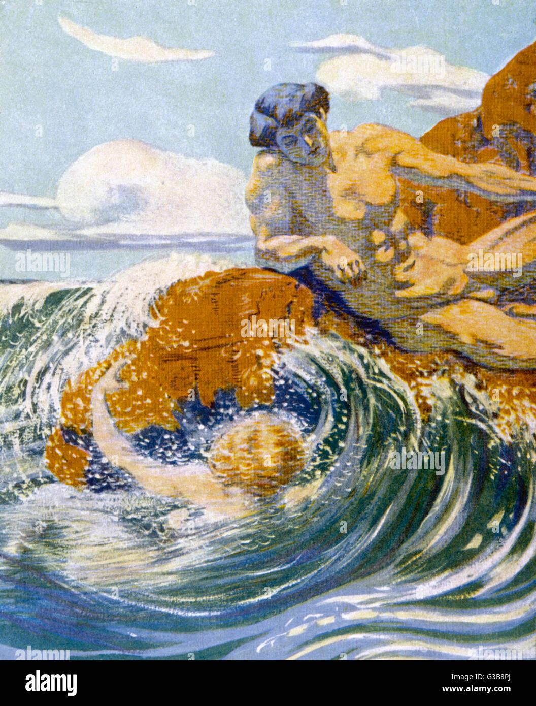 """""""Su una costa rocciosa' data: 1913 Immagini Stock"""