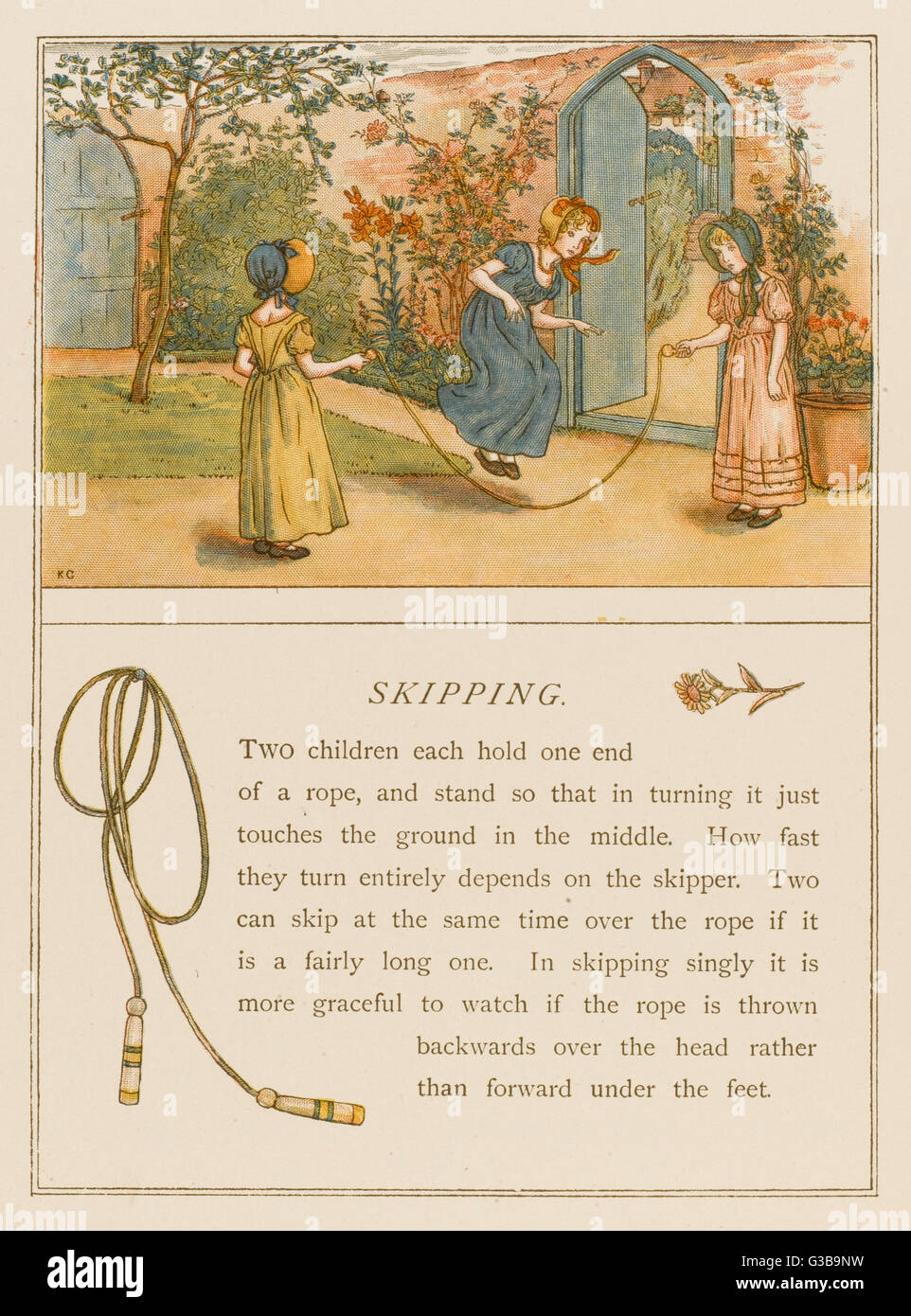 Ragazze vittoriane nei cofani saltando data: 1889 Immagini Stock