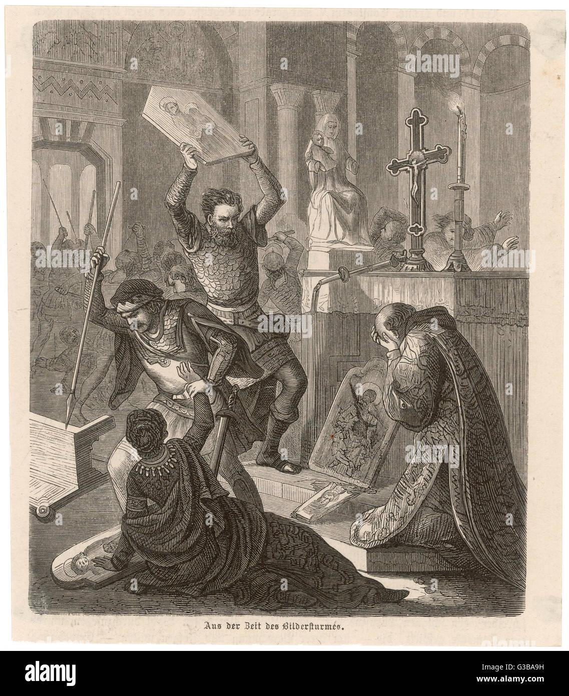 Iconoclasti distruggere immagini religiose nell'impero bizantino. Data: circa 736 Immagini Stock