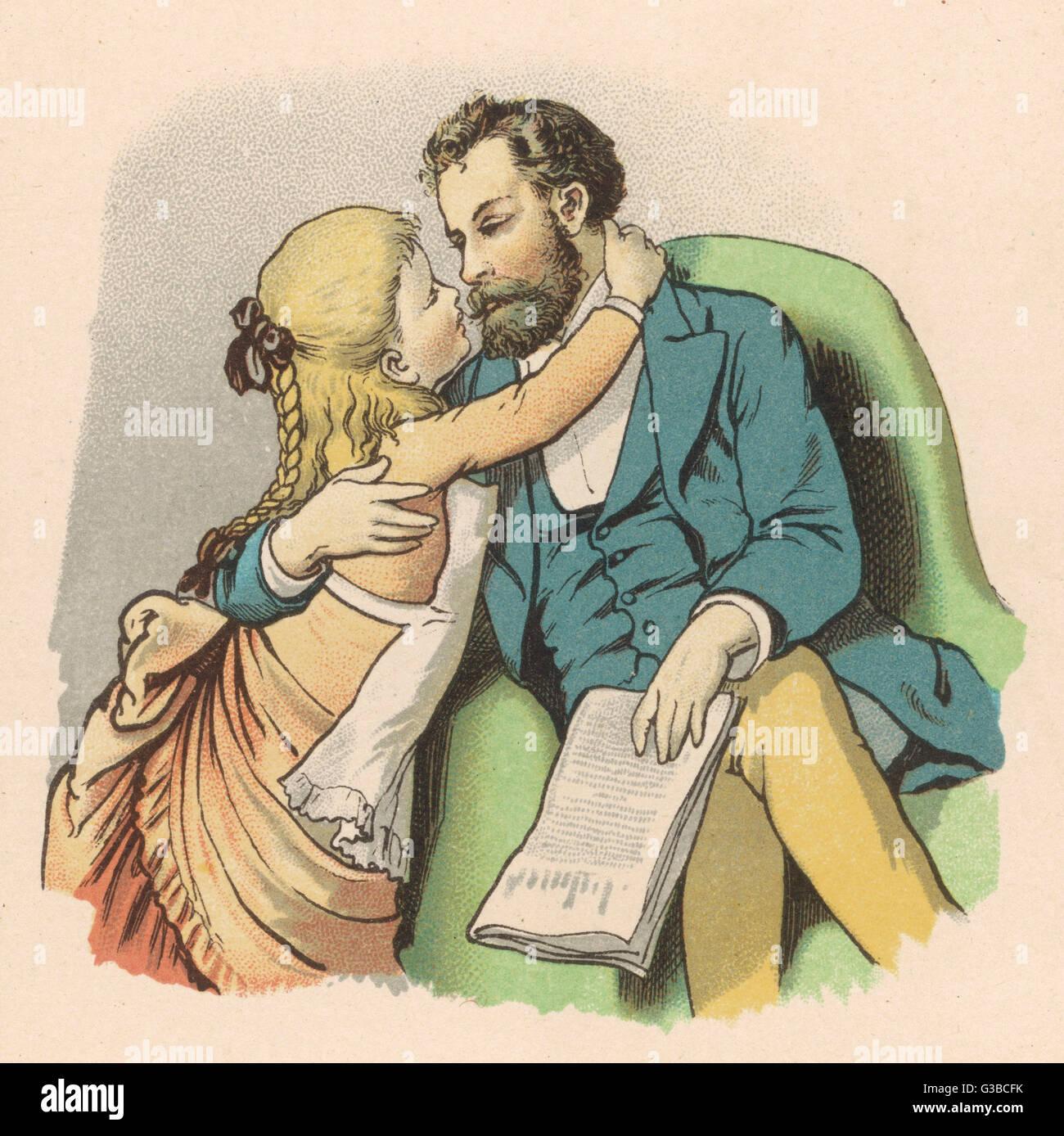 Un affettuoso figlia bacia il padre. Data: 1884 Immagini Stock