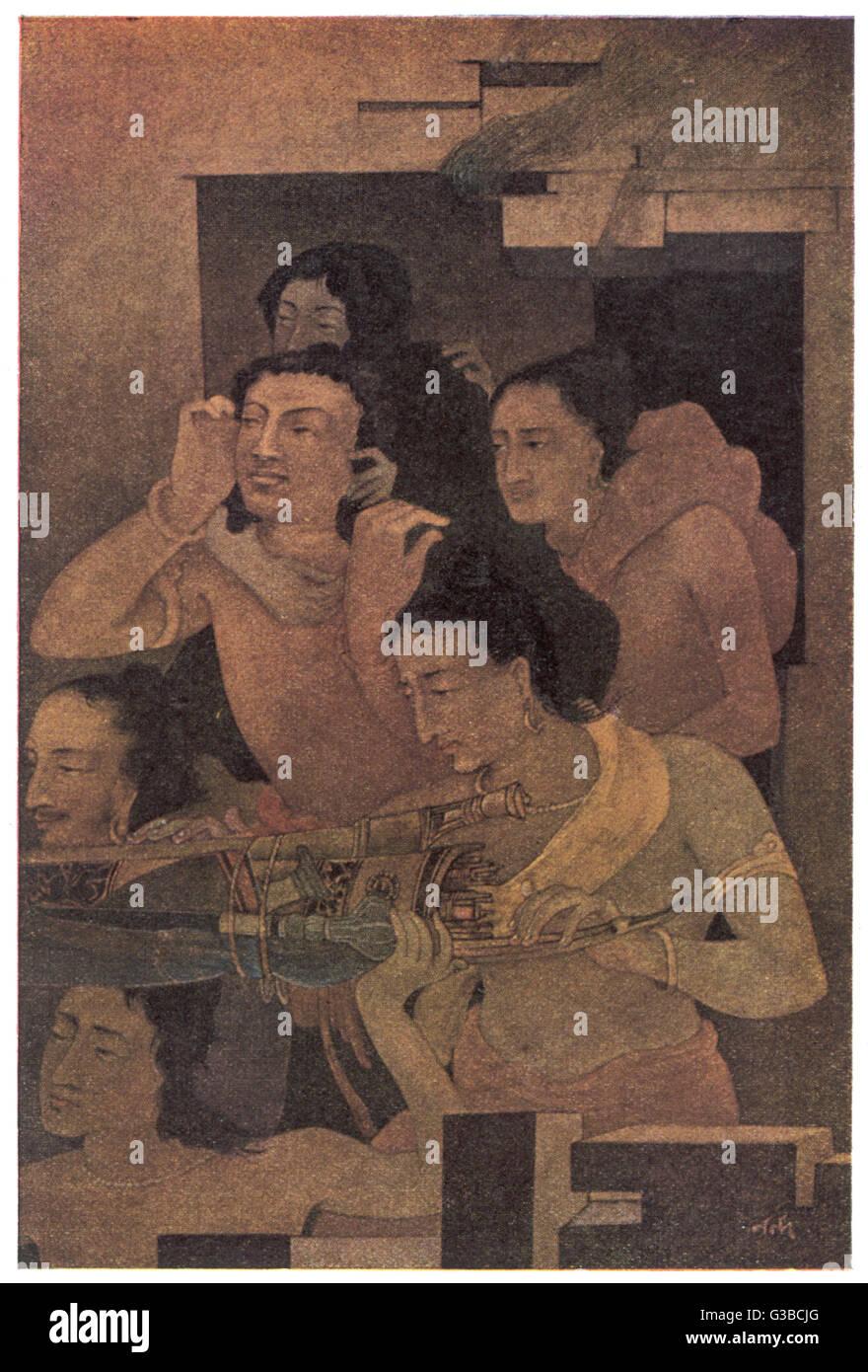 Indiana Mahabharata: i capi in casa fatta di Lac. Immagini Stock