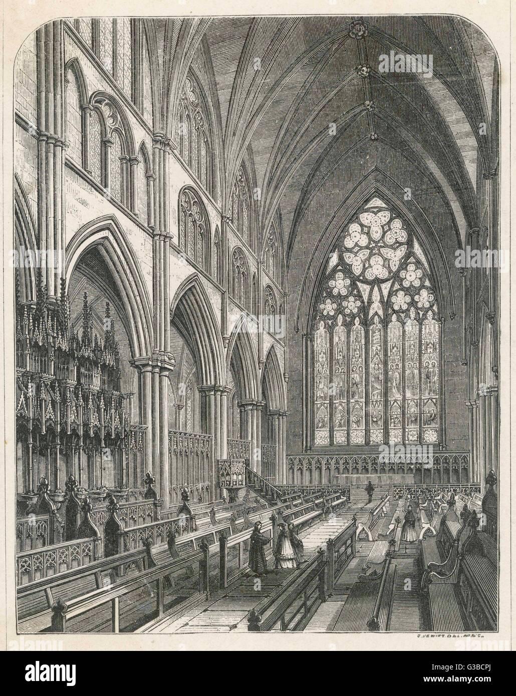 Il coro gotico si spegne nella cattedrale di Ripon Data: XIX secolo Immagini Stock