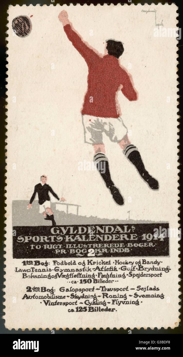Calendario Sportivo.Un Calciatore Salti Per La Sfera Su Un Poster Per Un