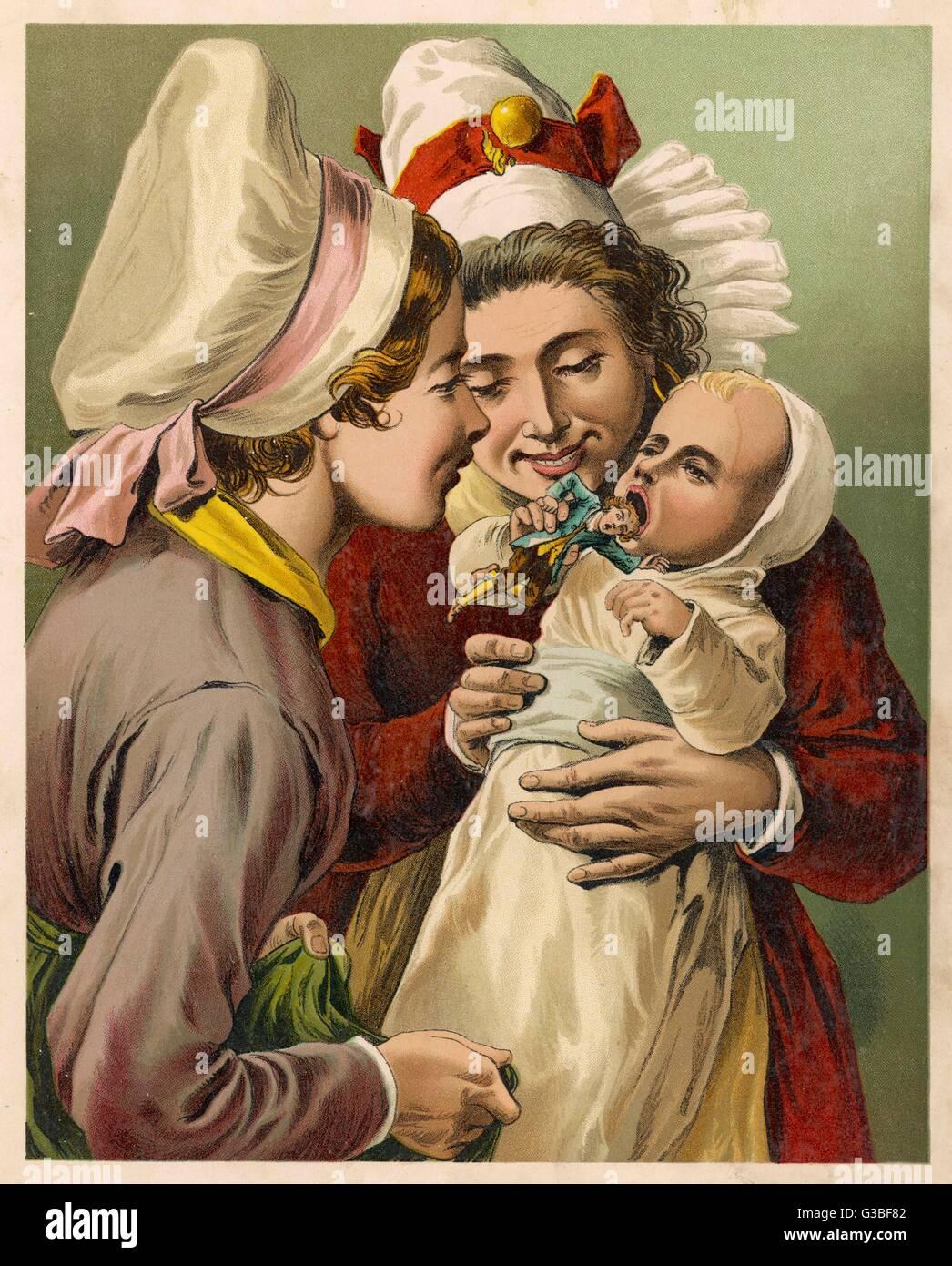 Gulliver è quasi mangiato da un bambino piccolo... Data: primo pubblicato: 1726 Immagini Stock