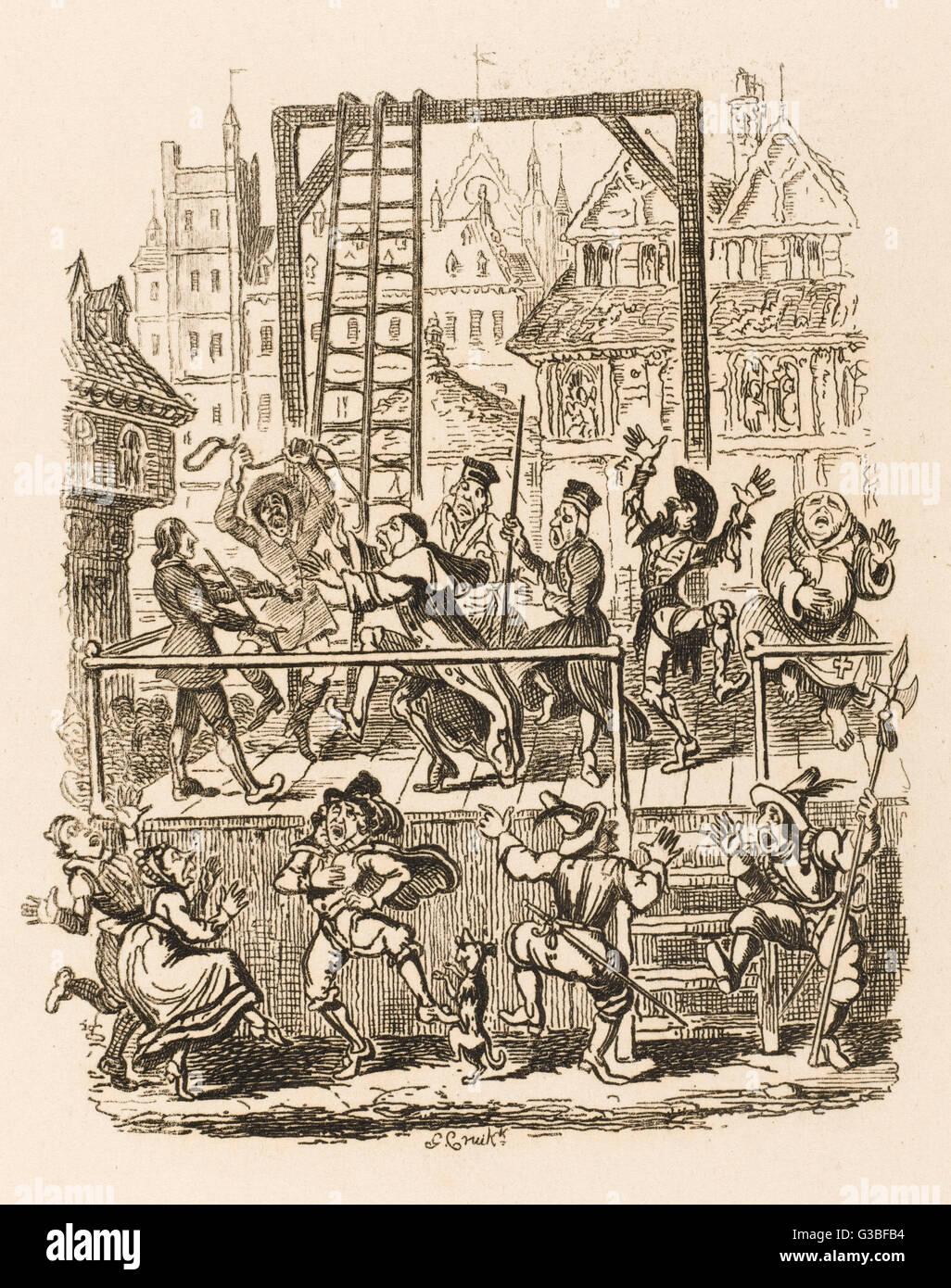 La scena sullo scaffold di esecuzione. Immagini Stock