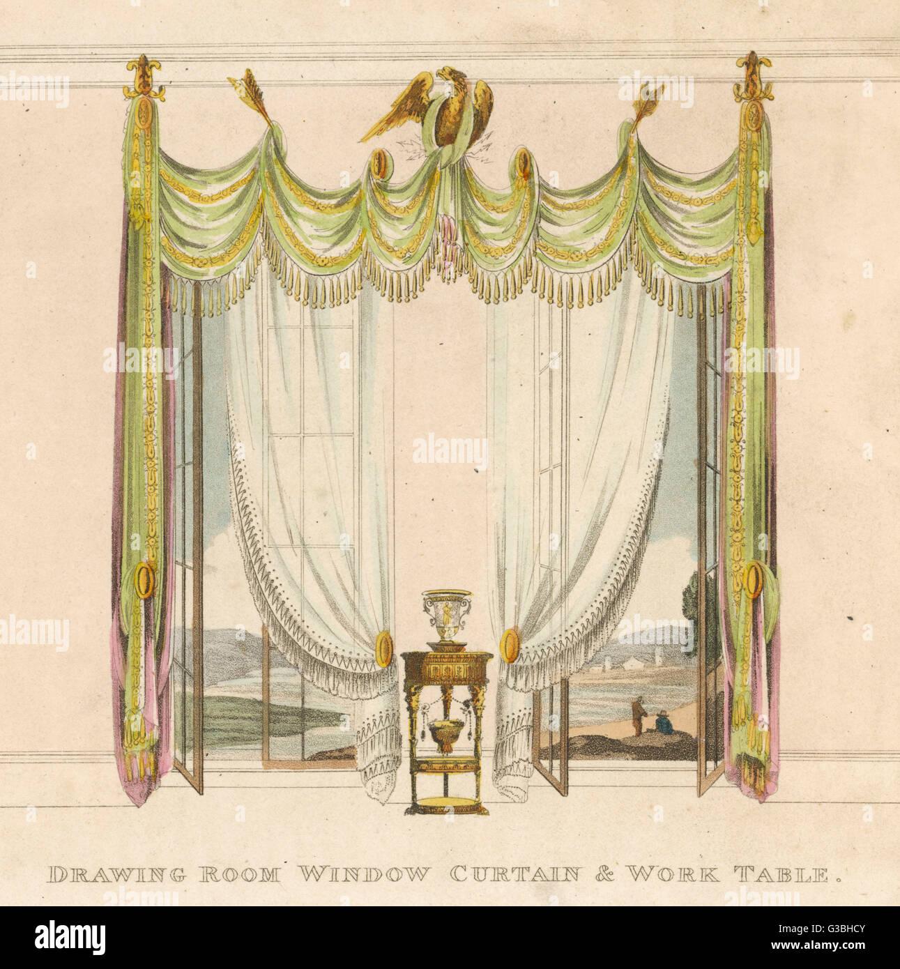Tende Per Salotto Classico sala da disegno tendaggi in stile classico, con bird e