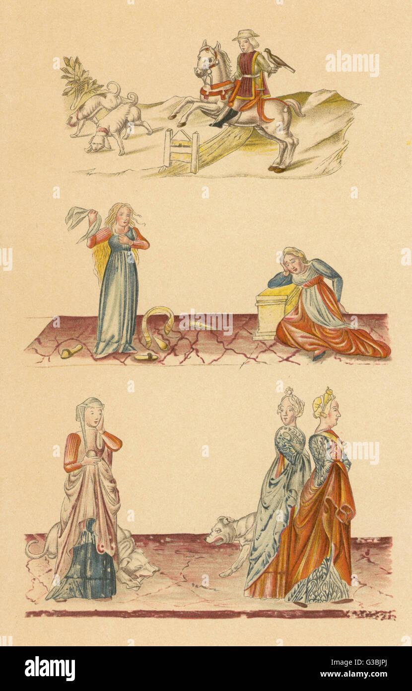 Virtù e vizi: (1) nobiltà (2) Rabbia e accidie (3) invidia data: 1475 Immagini Stock