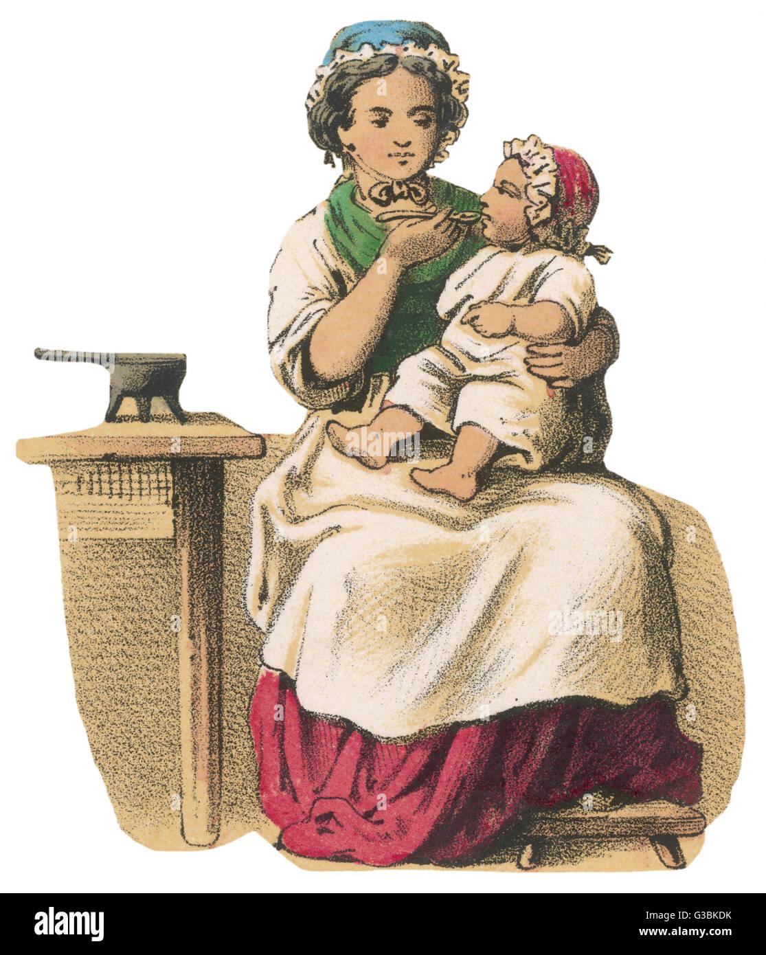 Una madre nutre il suo bambino, che ha quasi cresciuto alla dimensione dei bimbi. Data: circa 1845 Immagini Stock