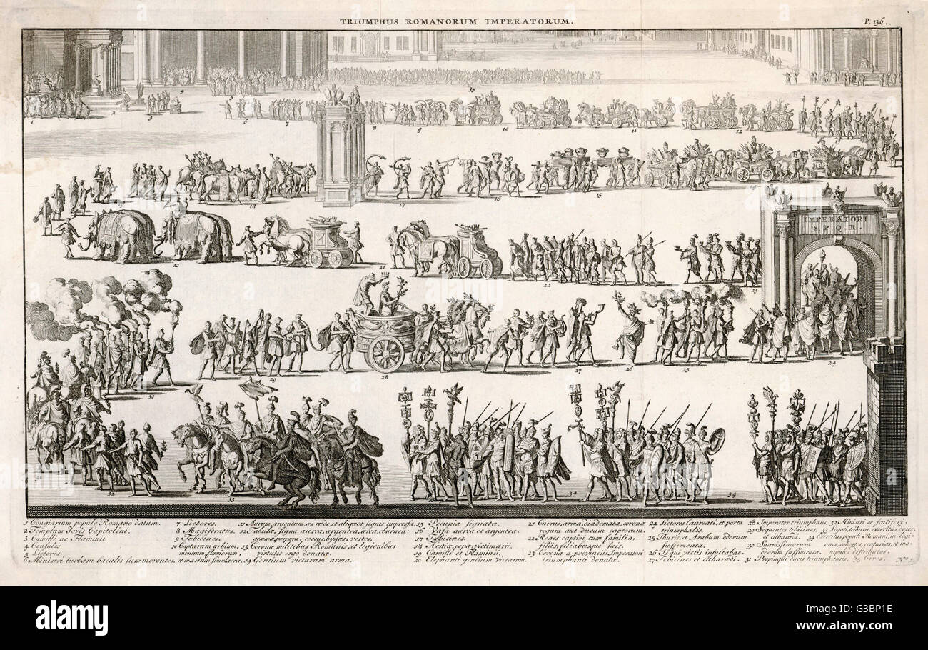 Un generico romano processione trionfale che include l'imperatore in un carro, elefanti, conquistato prigionieri, Immagini Stock