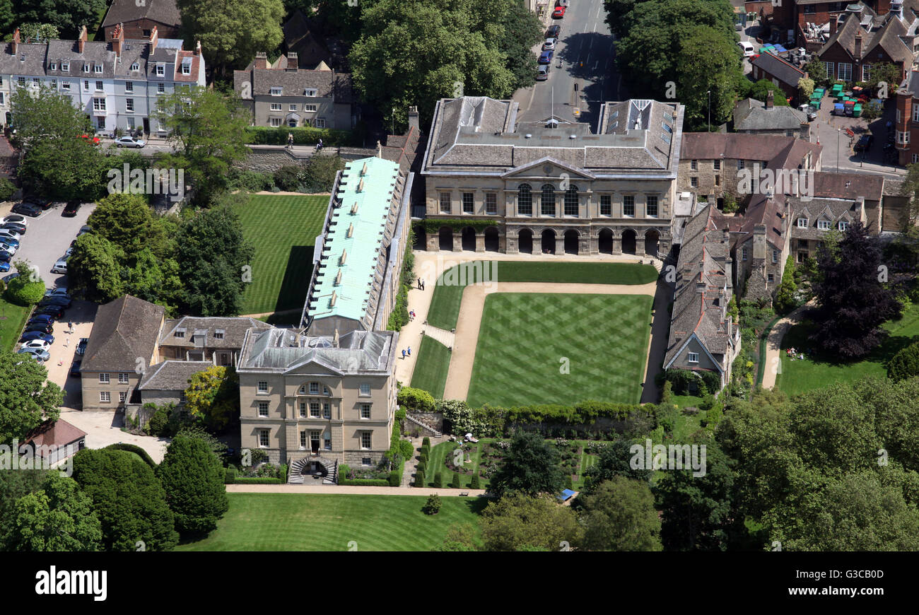 Vista aerea di Worcester College di Oxford University, Regno Unito Immagini Stock
