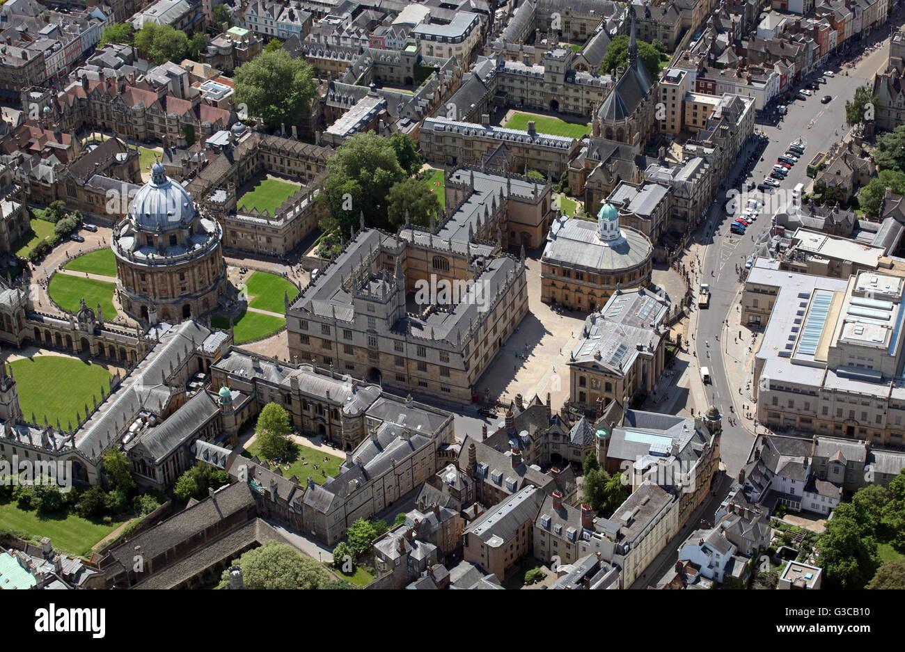 Vista aerea della Radcliffe Camera & biblioteca Bodleian, Oxford University, Regno Unito Immagini Stock