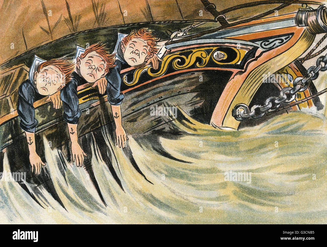 Tre runaway scolari soffrire molto da mal di mare su un oceano viaggio. Data: 1898 Immagini Stock