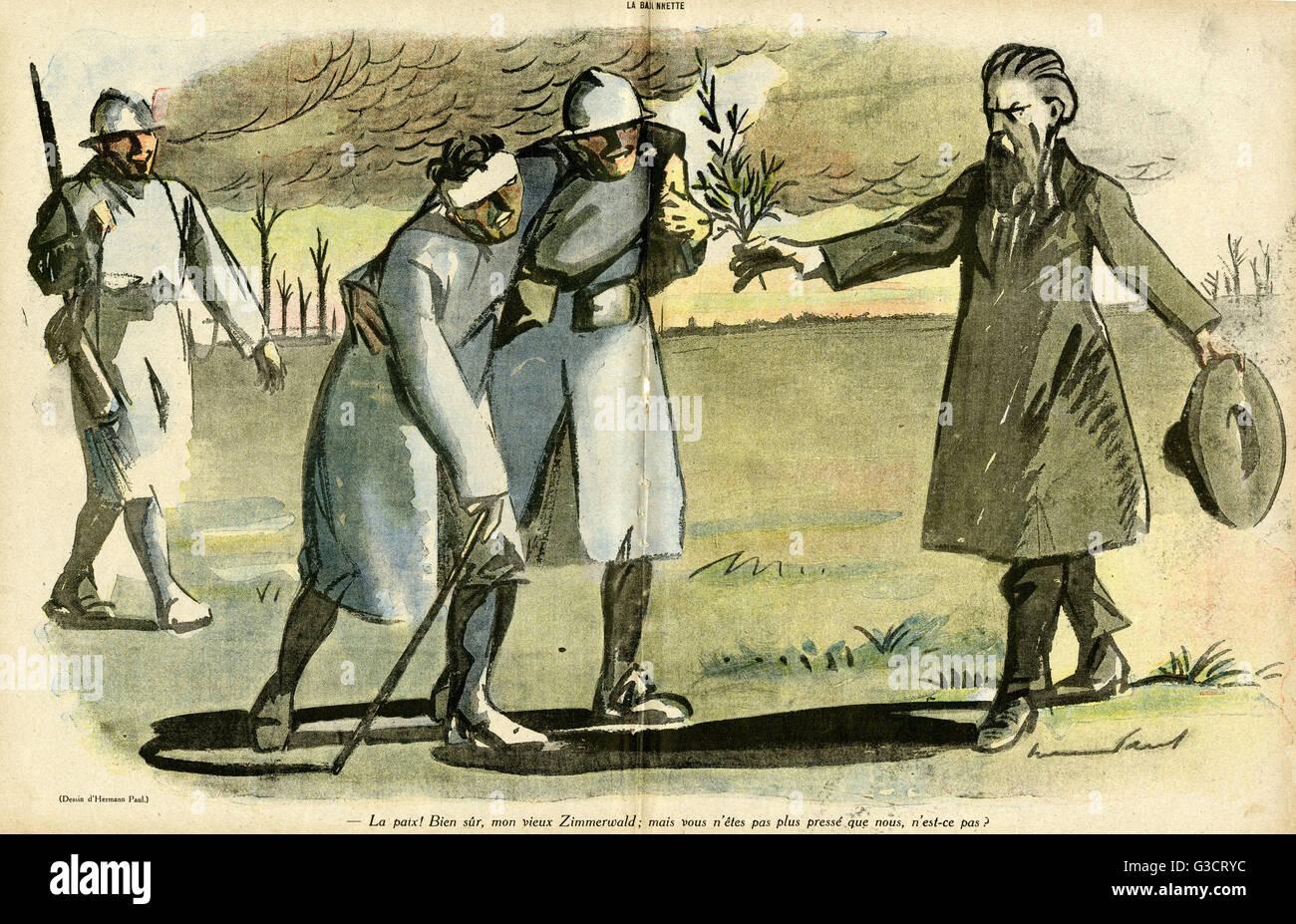 Cartoni animati di Zimmerwald pacifismo. Un uomo che rappresenta la Zimmerwald movimento per la pace offre un ramo Immagini Stock