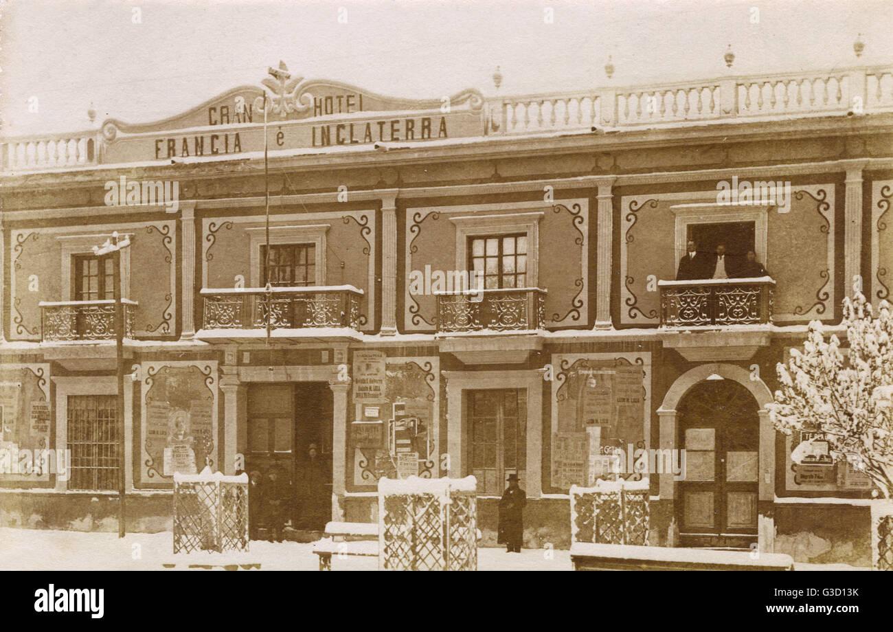 Gran Hotel Francia e Inglaterra nella piazza principale della città di Oruro, Bolivia, Sud America, durante Immagini Stock