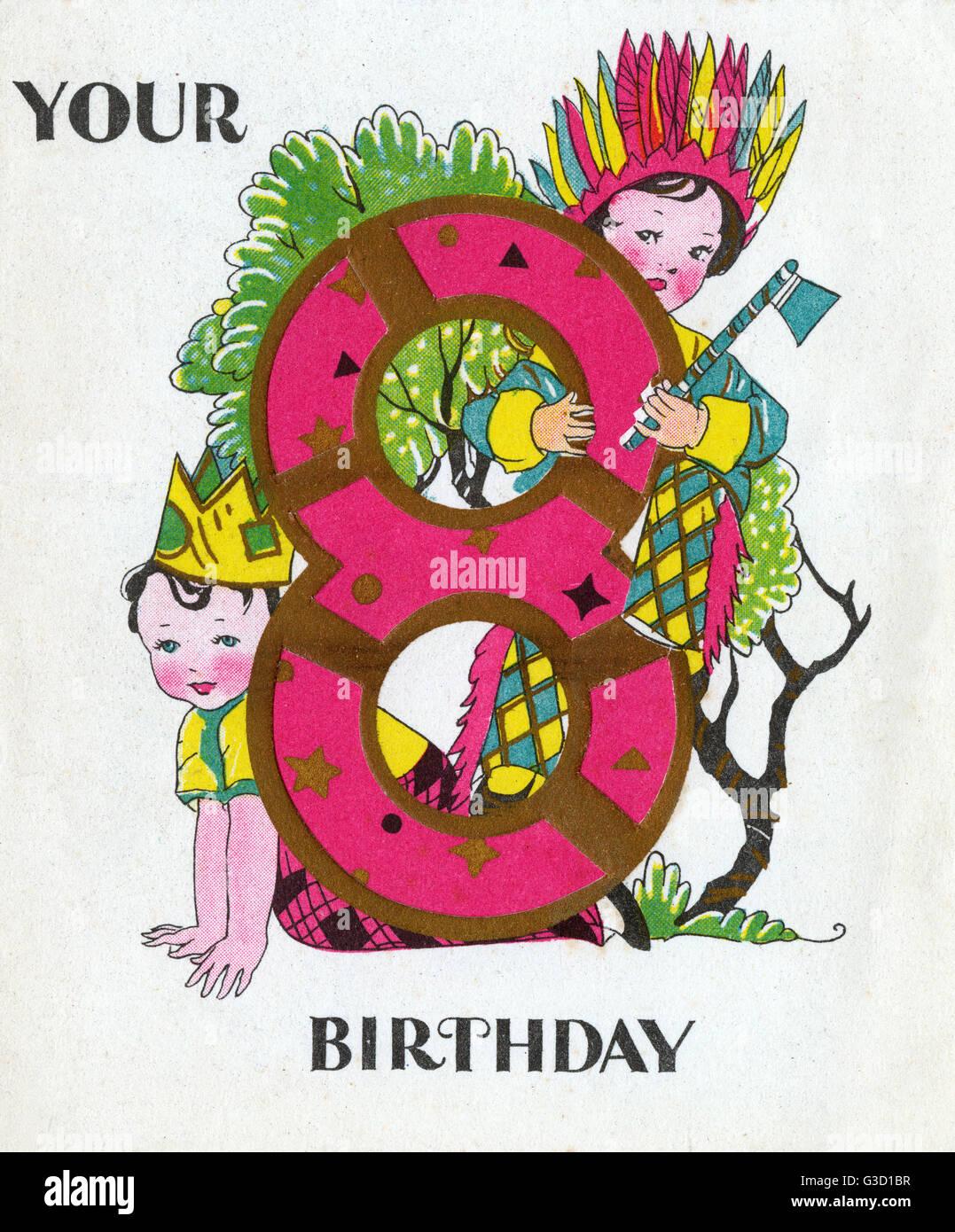 Biglietto Di Auguri Di Compleanno Per Un Ottavo Compleanno Uno Dei