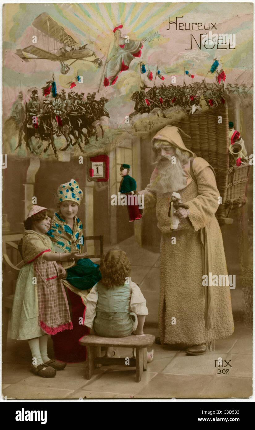 Auguri Di Natale Per I Figli.Ww1 Francese Patriottica Auguri Di Natale Cartolina Babbo Natale