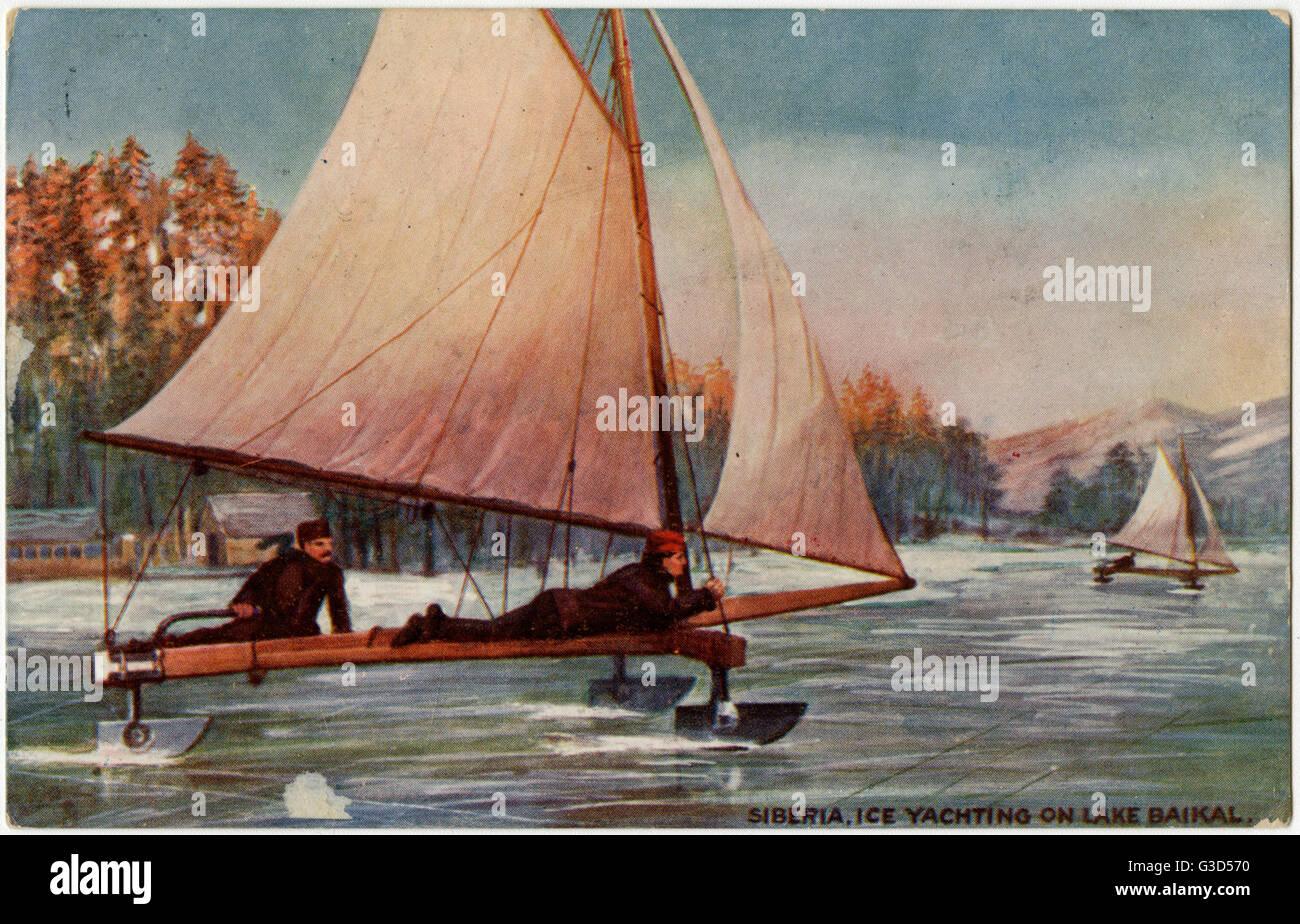 """Lago Baikal, Siberia, Russia - Ice Yachting - """"Quasi come veloce e pericoloso come motoring' !! Data: 1908 Immagini Stock"""