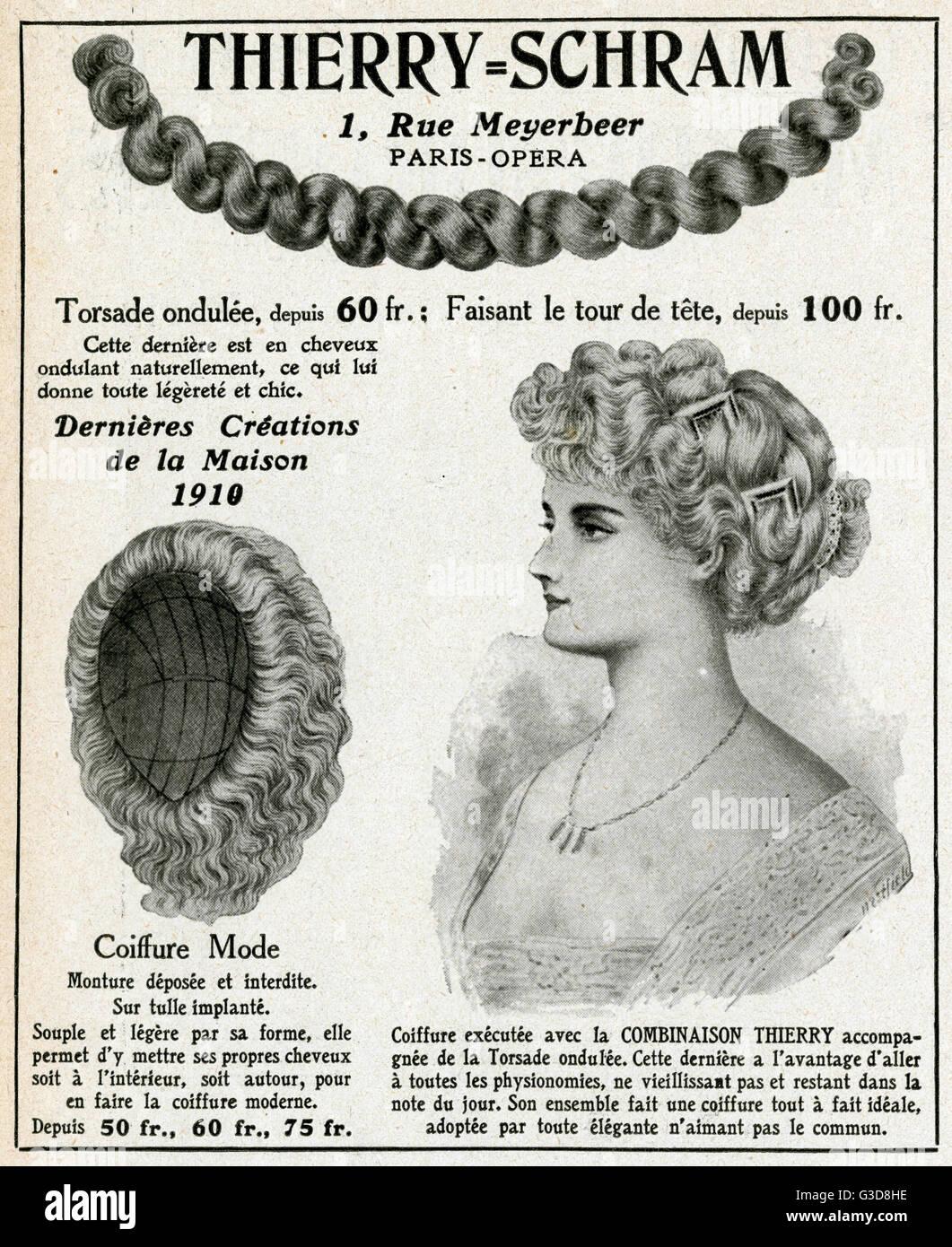Coiffure flessibile hairpiece con una estensione ritorta, disponibile da Thierry Schram. Data: 1910 Immagini Stock