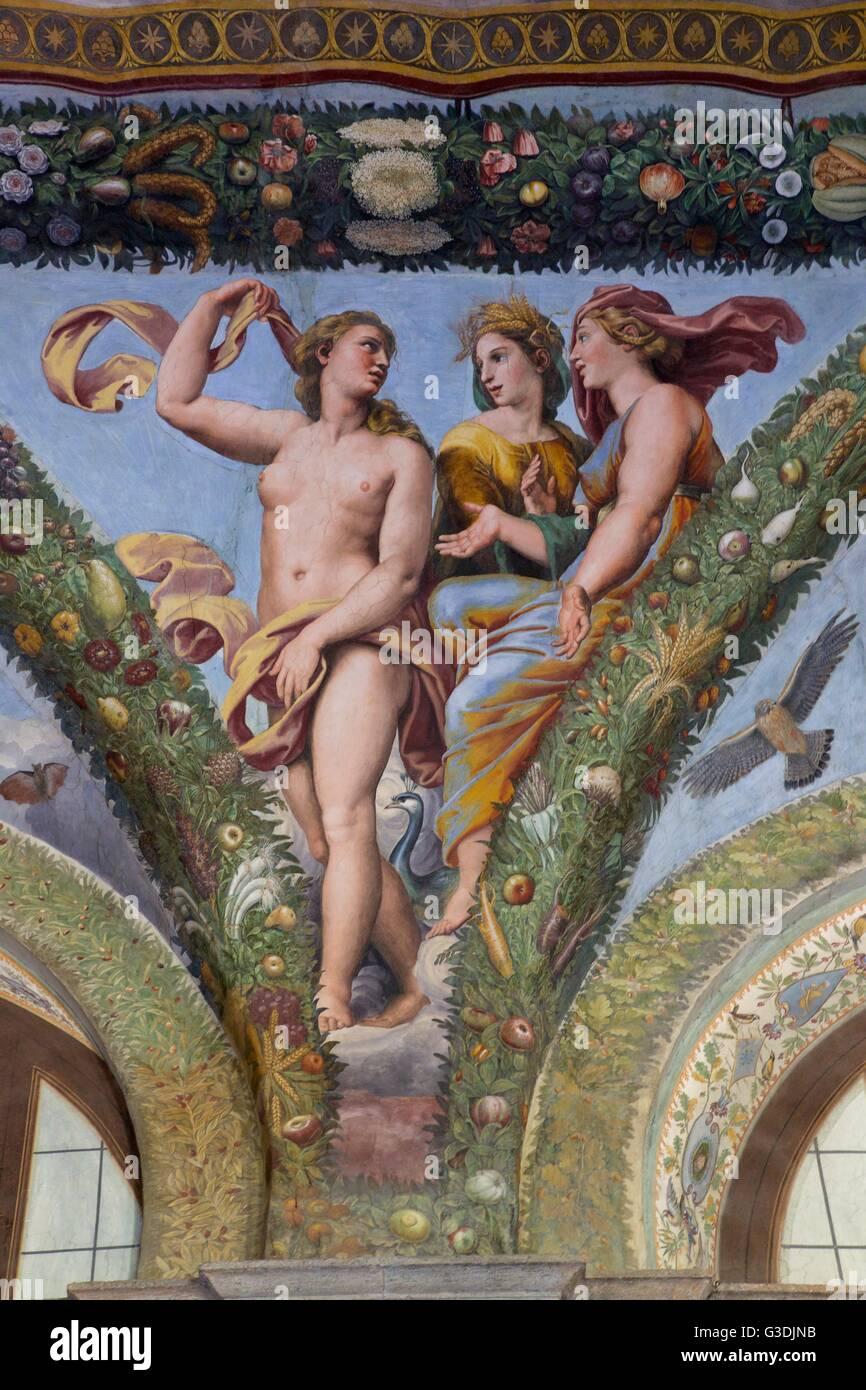 Venere, Cerere e Giunone, 1517-1518, Loggia di Amore e Psiche, Villa Farnesina, Roma, Italia, Europa Immagini Stock