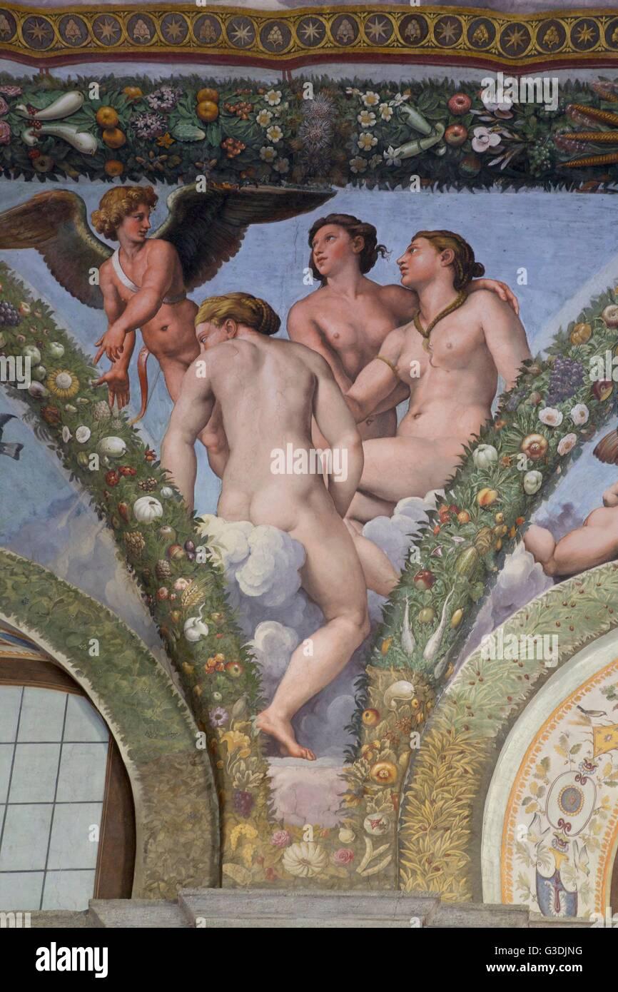 Cupido e le Tre Grazie, 1517-1518, Loggia di Amore e Psiche, Villa Farnesina, Roma, Italia, Europa Immagini Stock