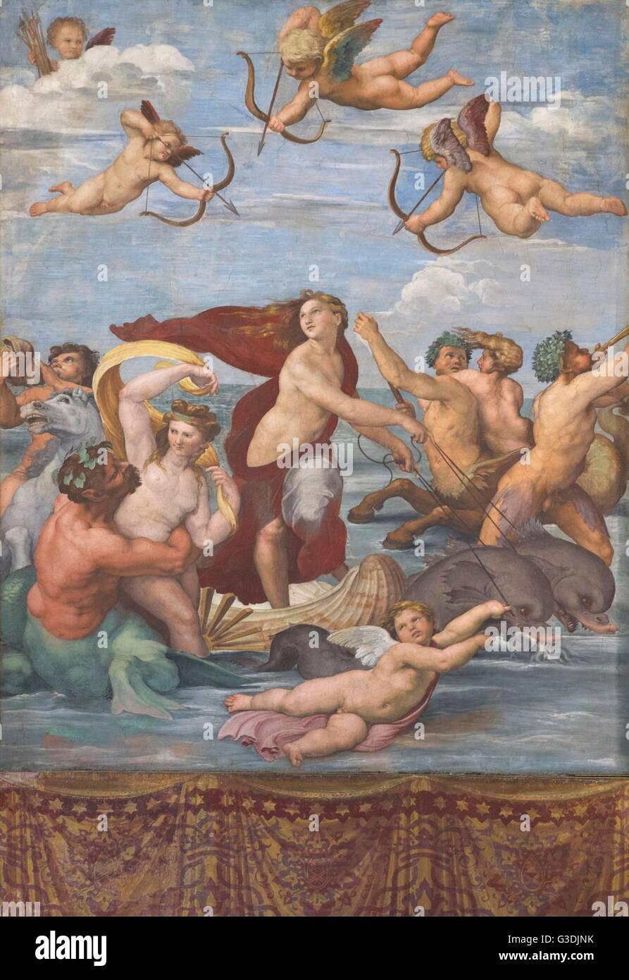 Trionfo di Galatea di Raffaello,1512, Villa Farnesina, Roma, Italia, Europa Immagini Stock