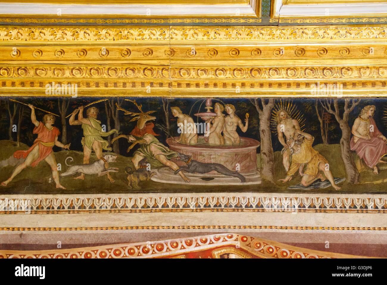 Sala del fregio, da Baldassarre Peruzzi ,Villa Farnesina, Roma, Italia, Europa Immagini Stock