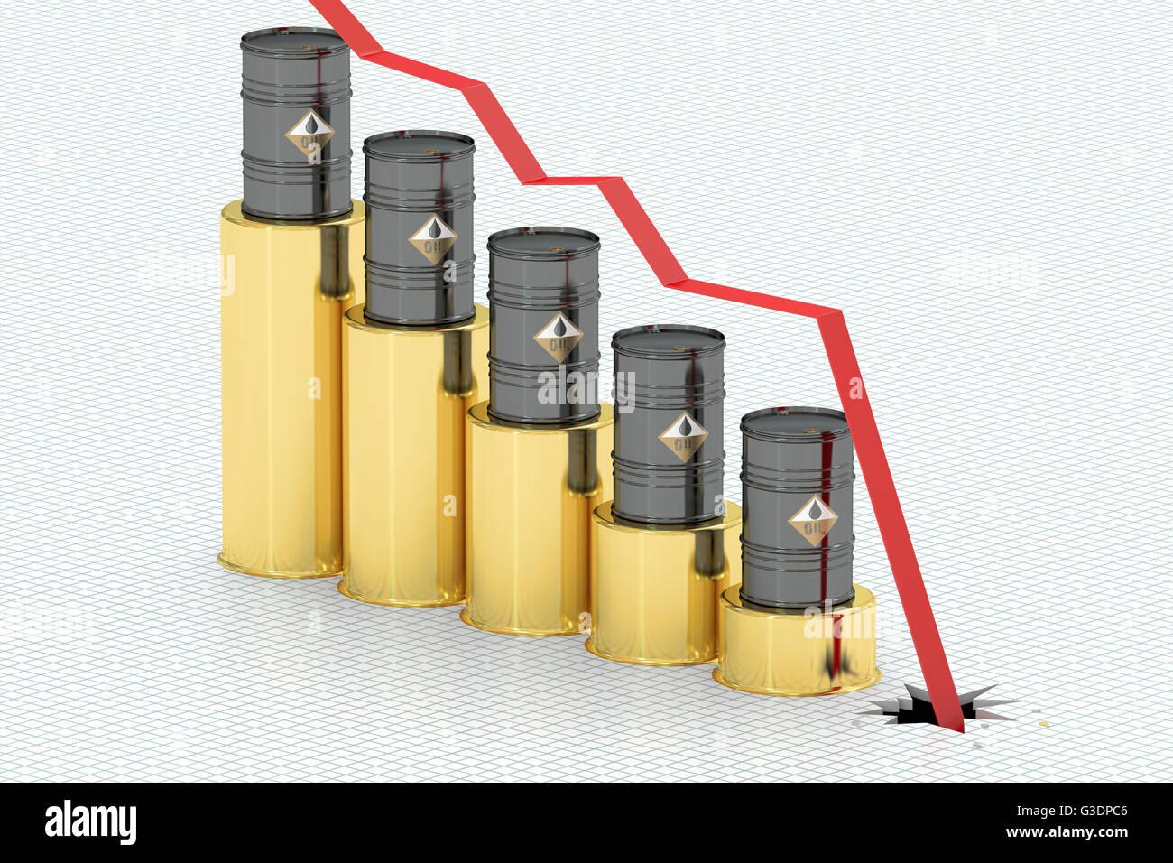 Del prezzo del petrolio rientranti concetto, rendering 3D Immagini Stock