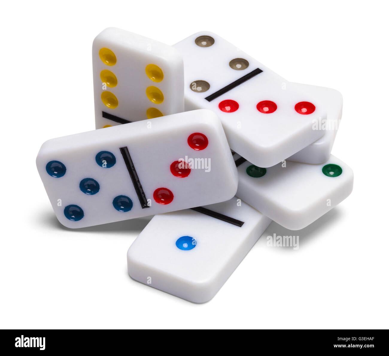 Pila di pezzi di Domino isolati su sfondo bianco. Immagini Stock