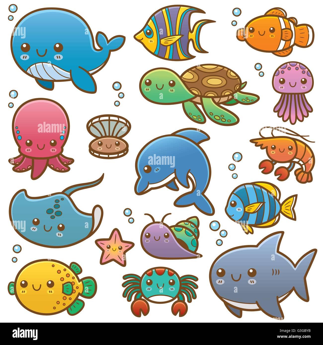 Illustrazione vettoriale di mare animali cartoon