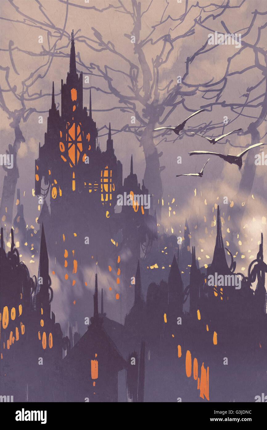 Fantasy,città fiabesca cittadina con grandi alberi,landscape illustrazione Immagini Stock