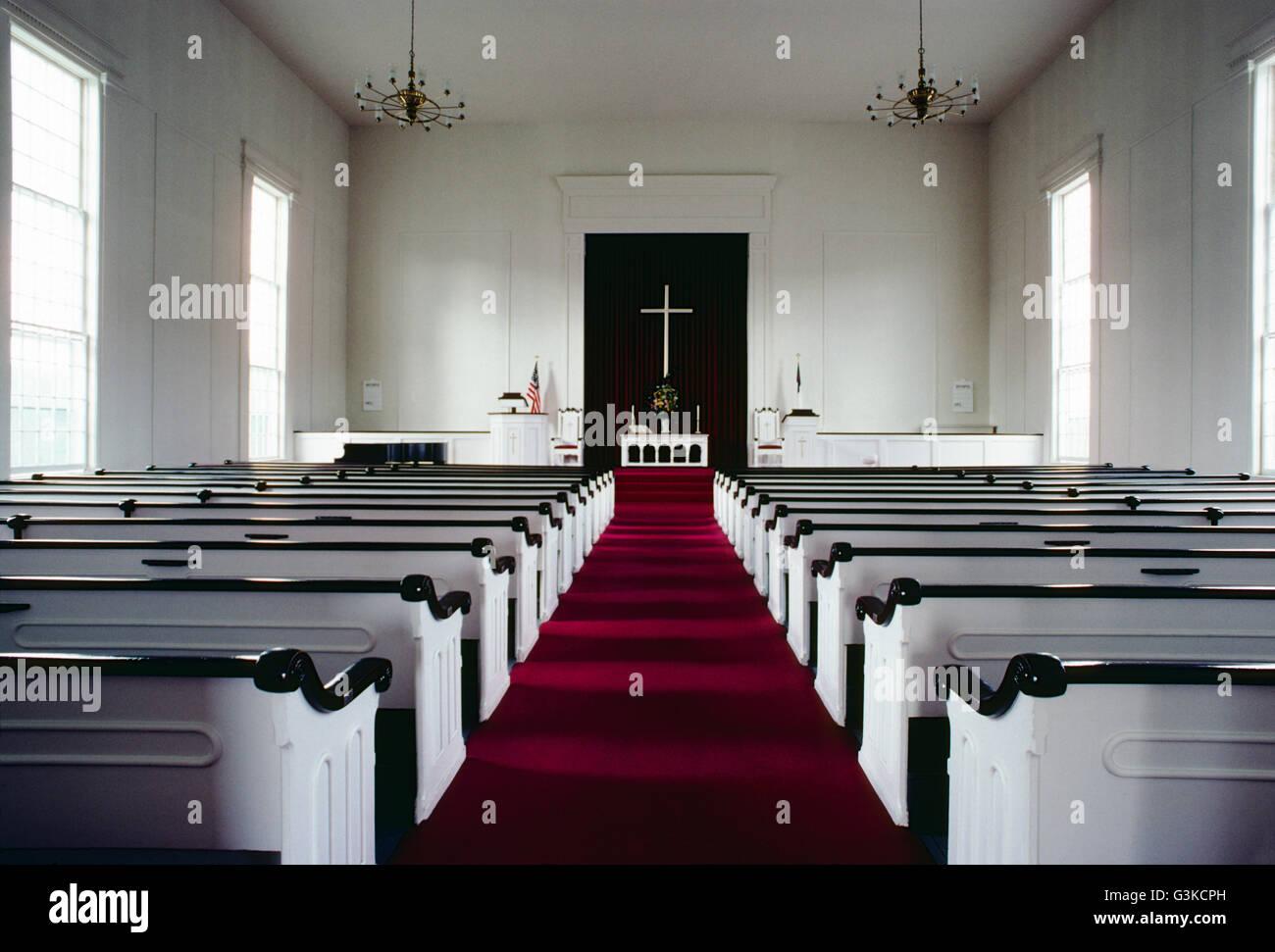 Vista interna di Stowe Chiesa comunità; Stowe; Vermont; USA Immagini Stock