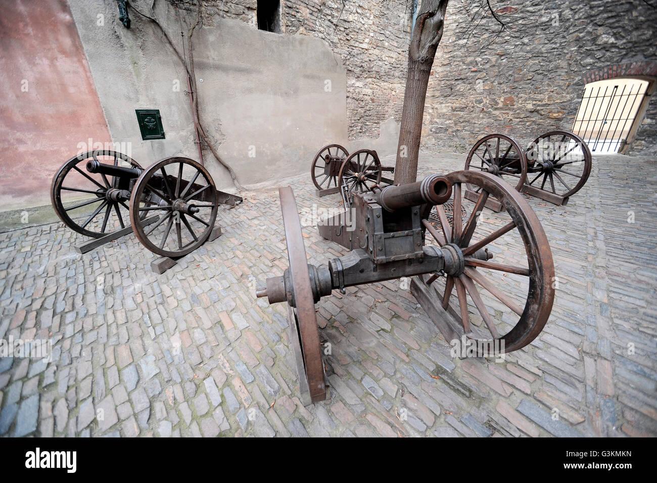 Pistole di artiglieria nel Castello di Praga, Repubblica Ceca Immagini Stock
