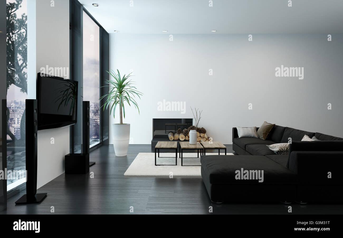 Divano Nero Moderno : Moderno appartamento di lusso con camino divano nero e nude