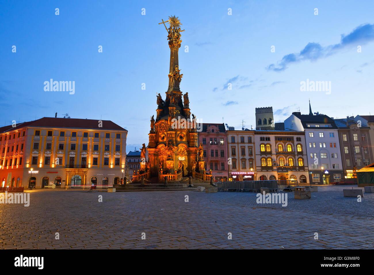 La colonna della santa Trinità nella piazza principale del centro storico di Olomouc, Repubblica Ceca. Immagini Stock