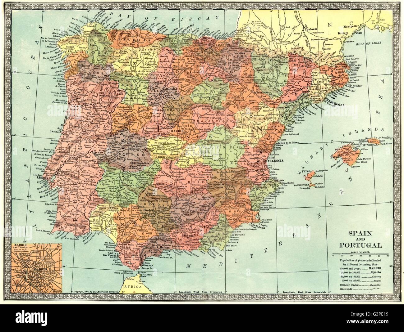 Cartina Spagna Antica.Iberia La Spagna E Il Portogallo Inset Madrid Plan 1907 Mappa Antichi Foto Stock Alamy