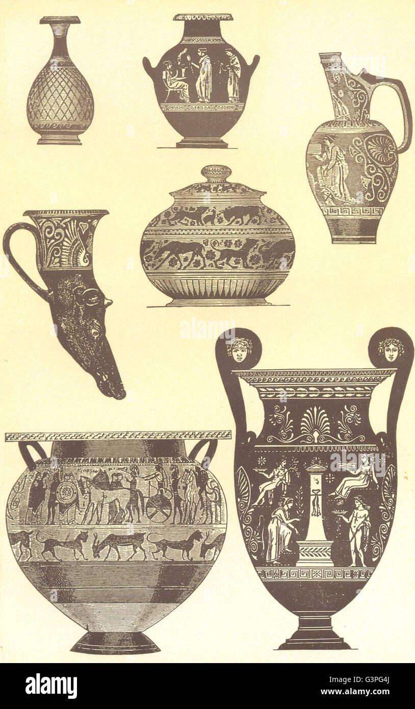 Decorazioni Dei Vasi Greci.Decorativi Vasi Greci Antica Stampa 1907 Foto Immagine Stock