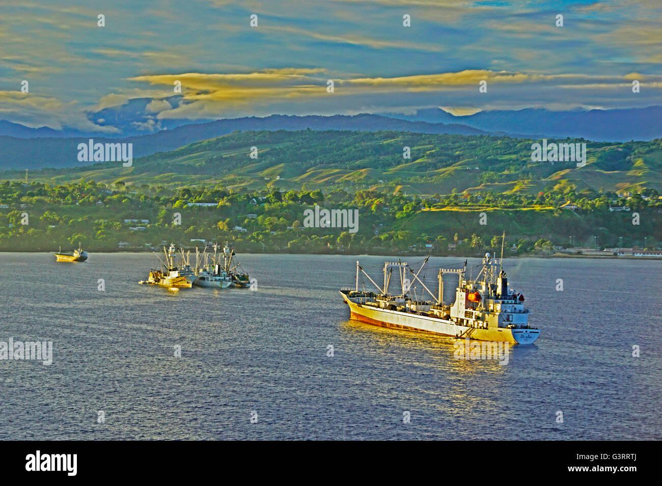 Le navi in ferro Suono di fondo, Guadalcanal, isole Salomone. Immagini Stock