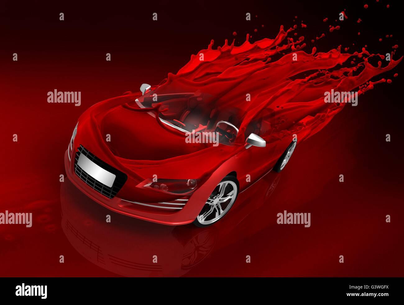Concept car con veloci schizzi di rosso Immagine di nizza Immagini Stock