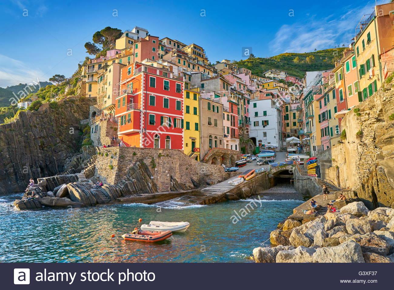 Riomaggiore, Riviera de Levanto, Cinque Terre Liguria, Italia Immagini Stock