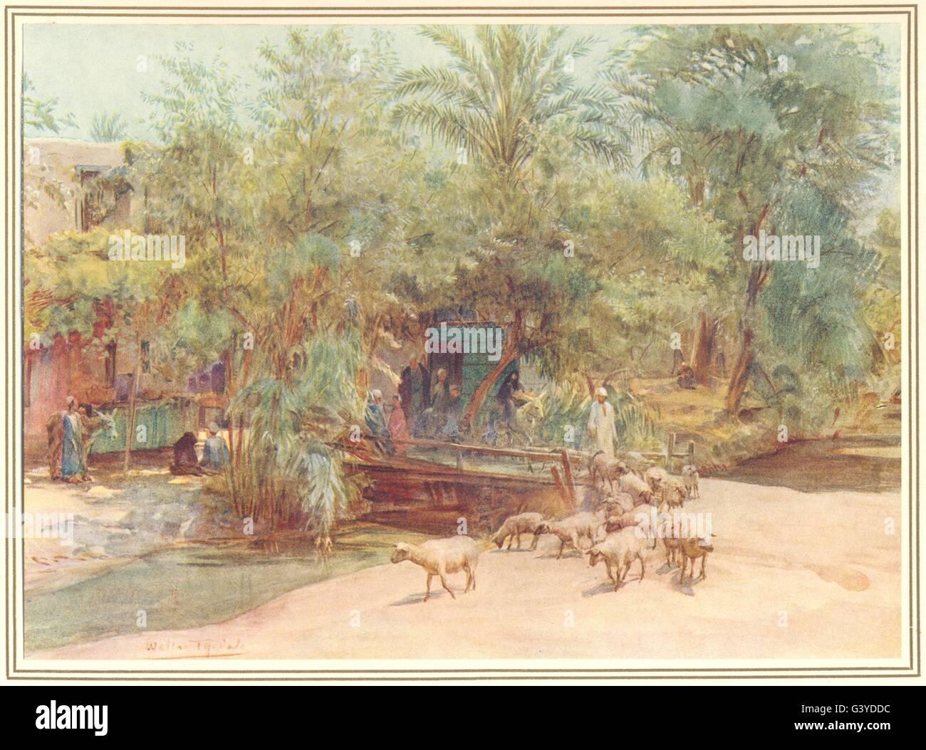 Egitto: il villaggio del Marg, antica stampa 1912 Immagini Stock