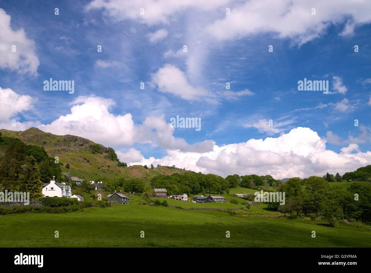 Little Langdale valley, Parco Nazionale del Distretto dei Laghi, Cumbria, Regno Unito, GB, Europa Immagini Stock