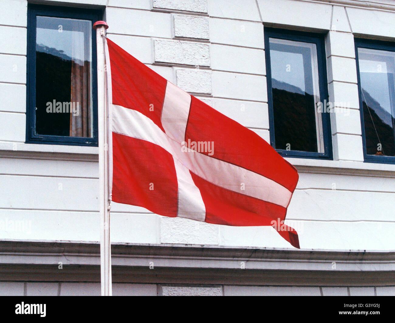 La bandiera danese Immagini Stock