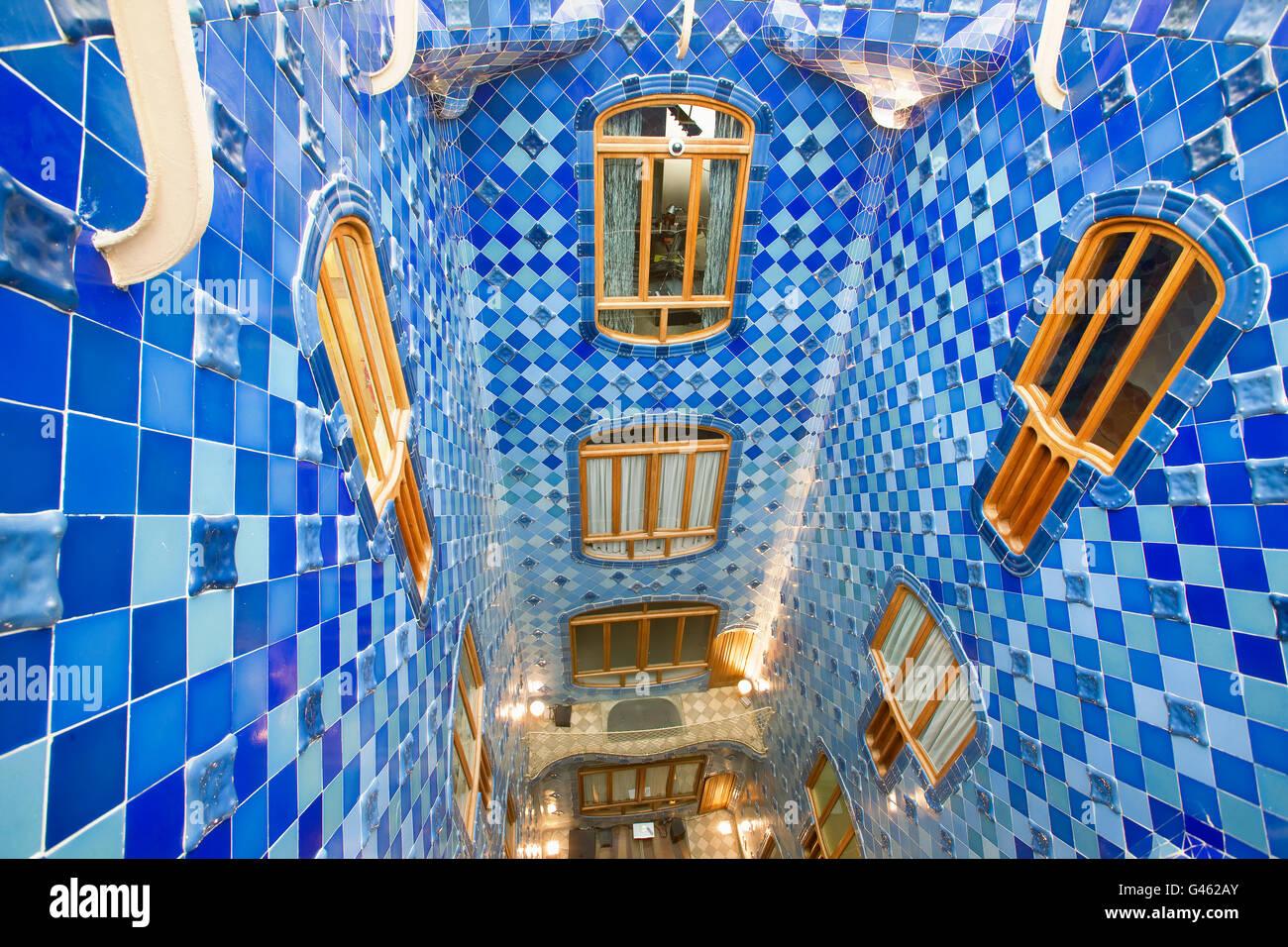 La casa Batlló di Gaudi a Barcellona Immagini Stock