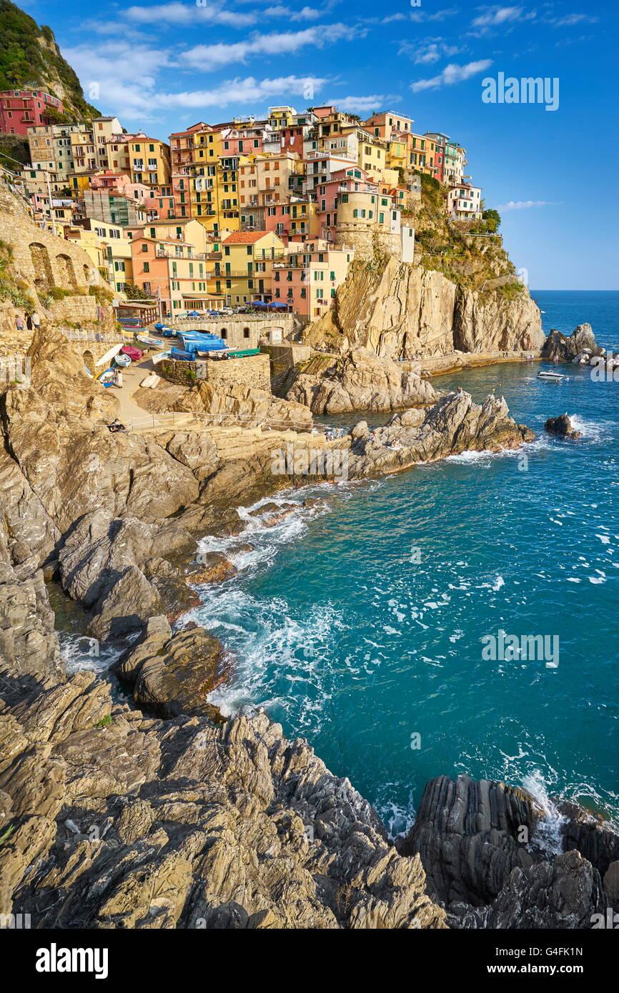 Manarola, Cinque Terre Liguria, Italia, UNESCO Immagini Stock